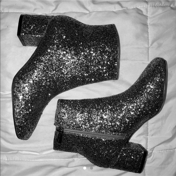 f0feb3cafb25 Shoes | Silver Glitter Boots Yves Saint Laurent Dupe | Poshmark